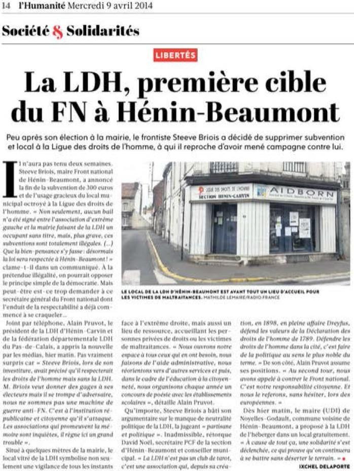La ligue des droits de l 39 homme premi re cible du fn for Cuisine plus henin beaumont