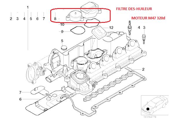 bmw e46 320cd m47n an 2003   bruit courroie accessoires