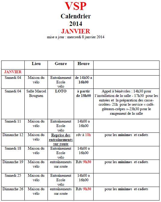 Calendrier janvier 2014 janvie10