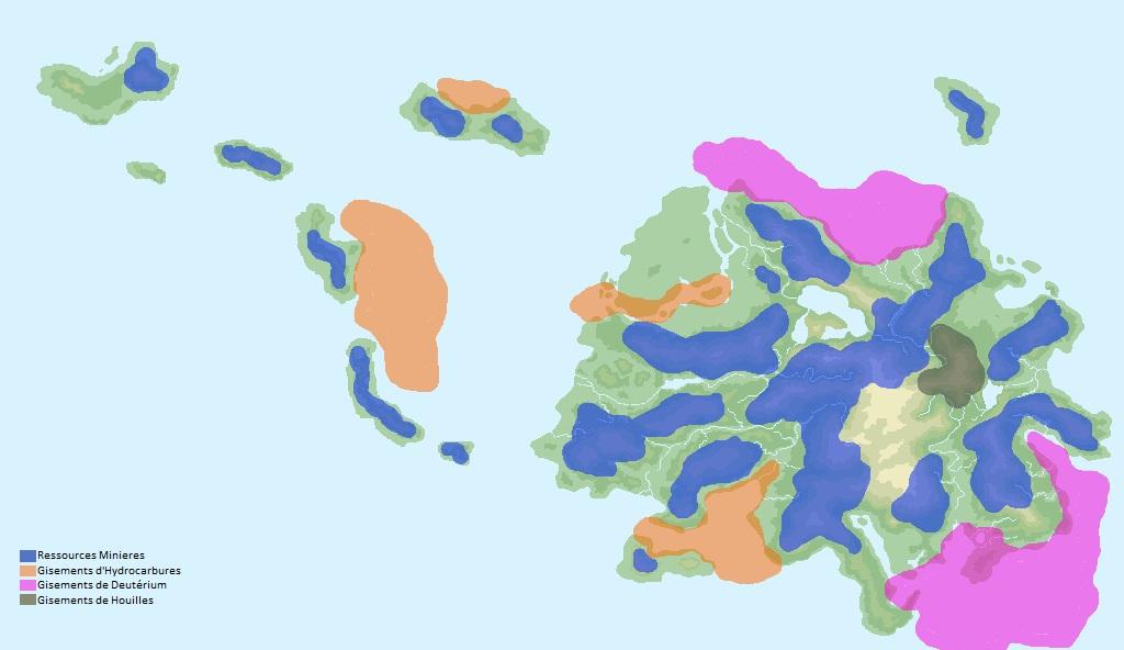les gisements de matières premières aux iles cerberes
