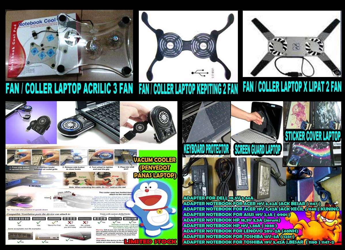 ACCESSORIES LAPTOP (ADAPTOR,KIPAS,SCREEN GUARD,COVER STICKER)