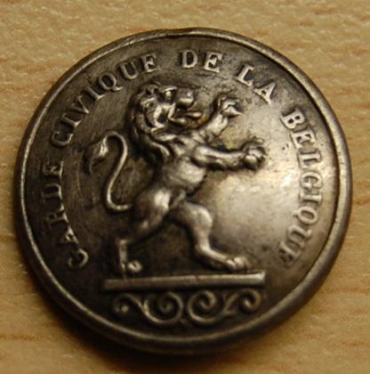 Bouton la garde civique de la belgique en argent motif - Bouton de liege ...