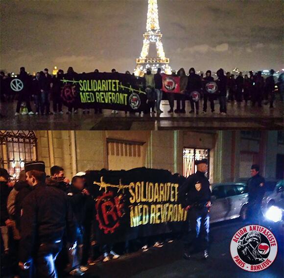 Action de solidarité avec le RevFront de l'Action Antifasciste Paris Banlieue le 30 novembre ... évidemment réprimée par les flics.