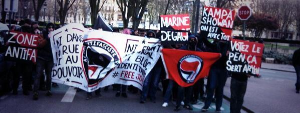 Manifestation antifasciste lors de la venue de Marine Le Pen à Lille le 20/03/2014