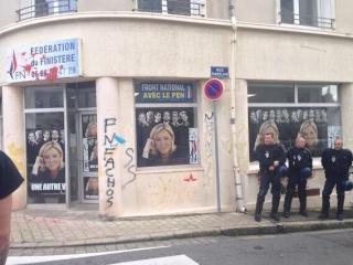Le local Brestois du FN, le 9/11/13. Avec les peintres à pied d'œuvre sur la photo ?