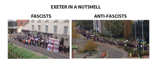 Les marches fascistes et antifascistes à Exeter le 16/11.