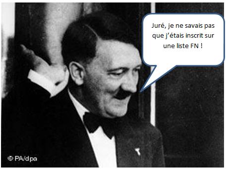 Hitler : Juré je ne savais pas que j'étais inscrit sur une liste FN aux élections municpales !