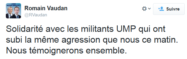 Messages twitter de Romain Vaudan (FN) du 16 mars.