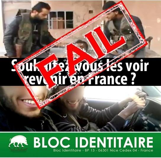 Campagne du Bloc Identitaire pour la déchéance de nationalité française des djihadistes et leur interdiction du territoire français.