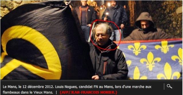 Louis Noguès candidat identitaire, euh Rassemblement Bleu Marine, tenant un drapeau du Bloc Identitaire