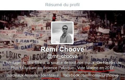 Profil d'un twitto qui a retweeté (diffusé) le tweet de Fabrice Robert.
