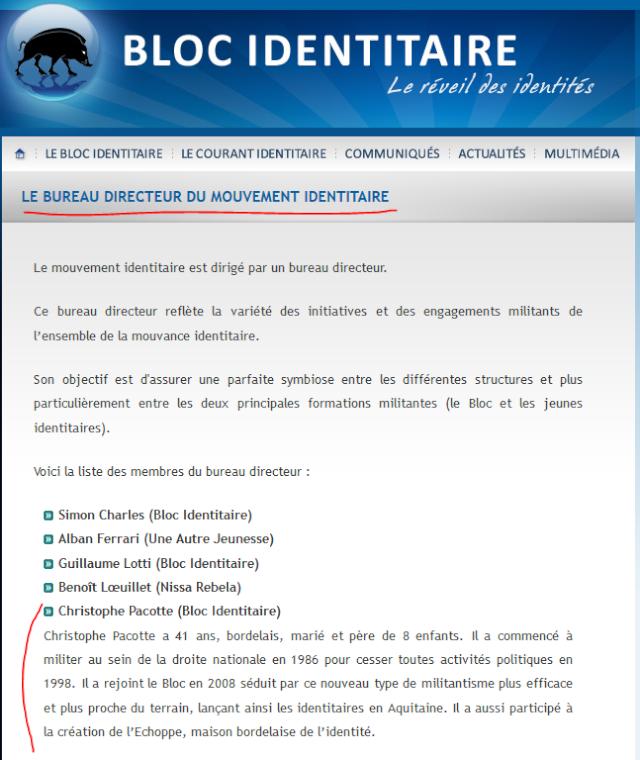Organigramme sur le site du Bloc Identitaire (capture d'écran du 23/04/14)