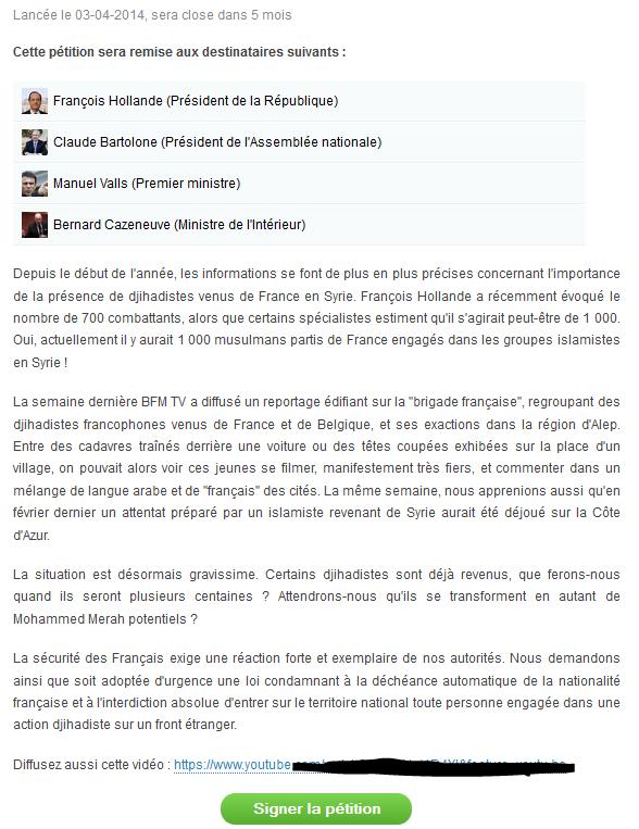 pétition du bloc identitaire