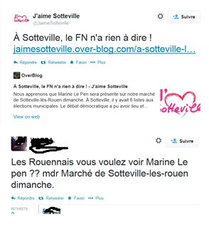 1ers twitts plutôt narquois quand à la venue de Marine Le Pen à Sotteville-Lès-Rouen