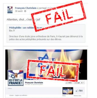 textes et photos antisémites sur le FB de François Chatelain
