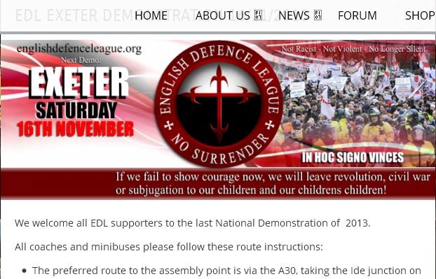 Sur le site de l'English Defence League, le caractère national et important de la manif du 16/11 est évident.