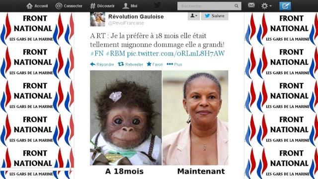 Un sympathisant de Marine Le Pen diffuse sur Twitter le montage comparant Christiane Taubira à un singe