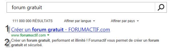 Balise title et description de Forumactif